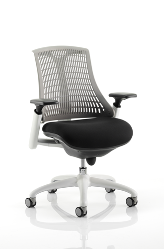 Picture of Office Chair Company Flex Task Operator Chair White Frame Black Fabric Seat With Grey Back With Arms