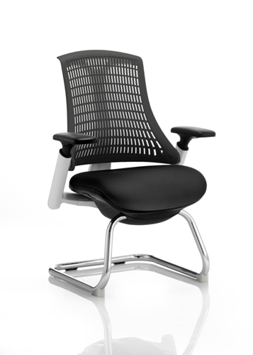 Picture of Office Chair Company Flex Visitor Cantilever White Frame Black Fabric Seat Black Back With Arms