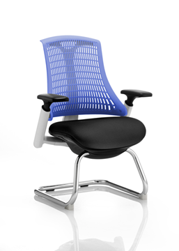 Picture of Office Chair Company Flex Visitor Cantilever White Frame Black Fabric Seat Blue Back With Arms