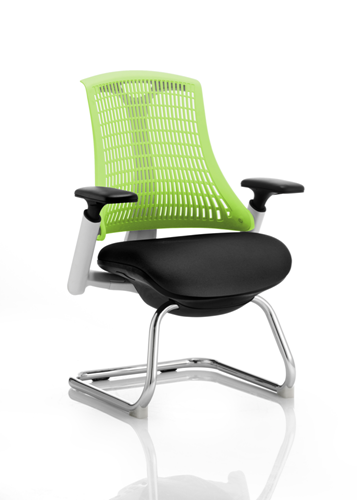 Picture of Office Chair Company Flex Visitor Cantilever White Frame Black Fabric Seat Green Back With Arms