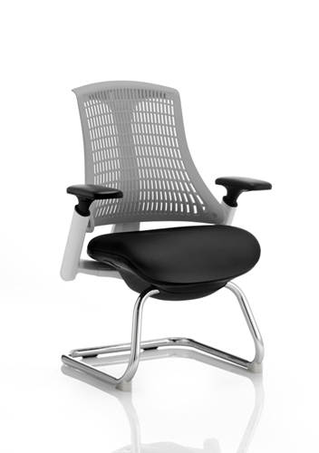 Picture of Office Chair Company Flex Visitor Cantilever White Frame Black Fabric Seat Grey Back With Arms