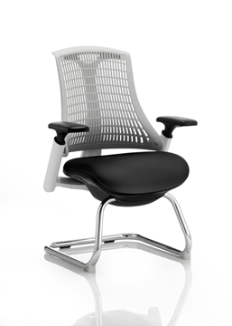 Picture of Office Chair Company Flex Visitor Cantilever White Frame Black Fabric Seat Moonstone White Back With Arms