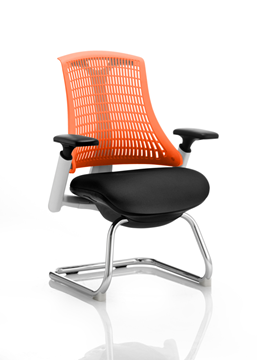 Picture of Office Chair Company Flex Visitor Cantilever White Frame Black Fabric Seat Orange Back With Arms