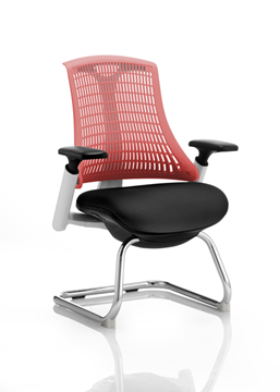 Picture of Office Chair Company Flex Visitor Cantilever White Frame Black Fabric Seat Red Back With Arms