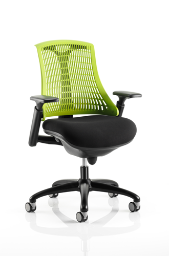 Picture of Office Chair Company Flex Task Operator Chair Black Frame With Black Fabric Seat Green Back With Arms