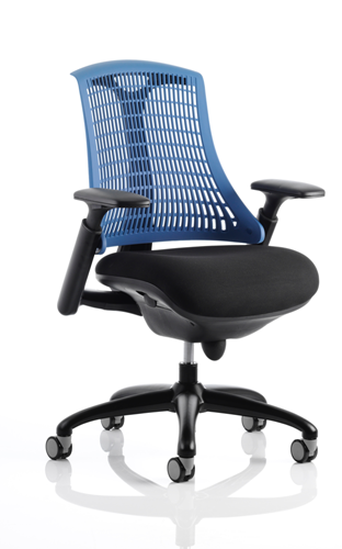 Picture of Office Chair Company Flex Task Operator Chair Black Frame With Black Fabric Seat Blue Back With Arms