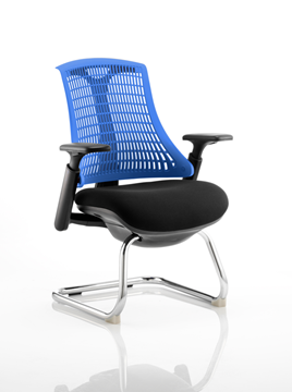Picture of Office Chair Company Flex Visitor Cantilever Chair Black Frame Black Fabric Seat With Blue Back With Arms