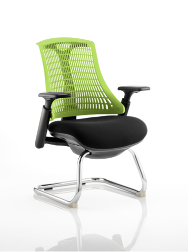 Picture of Office Chair Company Flex Visitor Cantilever Chair Black Frame Black Fabric Seat With Green Back With Arms