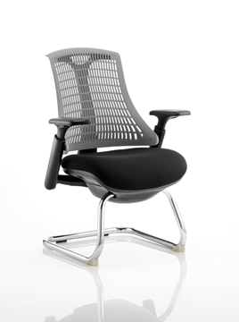 Picture of Office Chair Company Flex Visitor Cantilever Chair Black Frame Black Fabric Seat With Grey Back With Arms