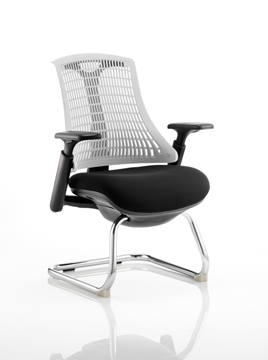 Picture of Office Chair Company Flex Visitor Cantilever Chair Black Frame Black Fabric Seat With Moonstone White Back With Arms