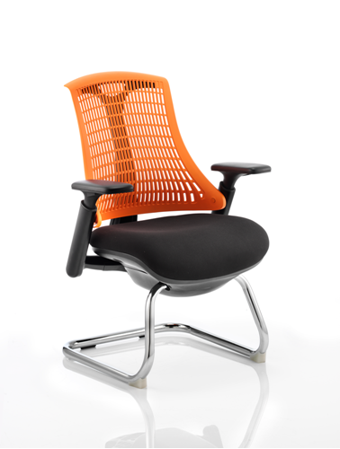 Picture of Office Chair Company Flex Visitor Cantilever Chair Black Frame Black Fabric Seat With Orange Back With Arms