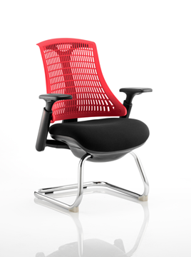 Picture of Office Chair Company Flex Visitor Cantilever Chair Black Frame Black Fabric Seat With Red Back With Arms