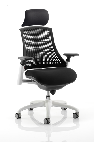 Picture of Office Chair Company Flex Task Operator Chair White Frame Black Fabric Seat With Black Back With Arms With Headrest
