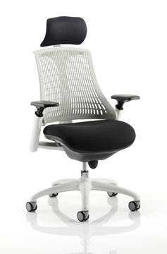 Picture of Office Chair Company Flex Task Operator Chair White Frame Black Fabric Seat With Moonstone White Back With Arms With Headrest