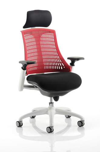 Picture of Office Chair Company Flex Task Operator Chair White Frame Black Fabric Seat With Red Back With Arms With Headrest
