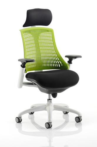Picture of Office Chair Company Flex Task Operator Chair White Frame Black Fabric Seat With Green Back With Arms With Headrest