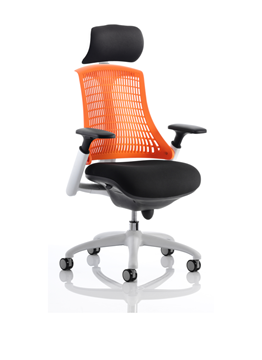 Picture of Office Chair Company Flex Task Operator Chair White Frame Black Fabric Back With Orange Back With Arms With Headrest