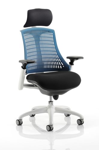 Picture of Office Chair Company Flex Task Operator Chair White Frame Black Fabric Seat With Blue Back With Arms With Headrest