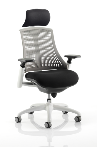 Picture of Office Chair Company Flex Task Operator Chair White Frame Black Fabric Seat With Grey Back With Arms With Headrest