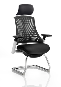 Picture of Office Chair Company Flex Visitor Cantilever White Frame Black Fabric Seat Black Back With Arms With Headrest