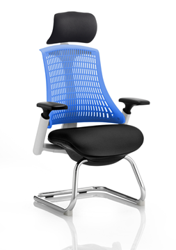 Picture of Office Chair Company Flex Visitor Cantilever White Frame Black Fabric Seat Blue Back With Arms With Headrest