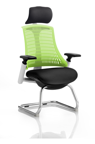 Picture of Office Chair Company Flex Visitor Cantilever White Frame Black Fabric Seat Green Back With Arms With Headrest