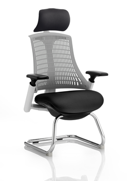 Picture of Office Chair Company Flex Visitor Cantilever White Frame Black Fabric Seat Grey Back With Arms With Headrest