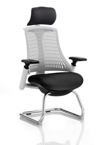 Picture of Office Chair Company Flex Visitor Cantilever White Frame Black Fabric Seat Moonstone White Back With Arms With Headrest