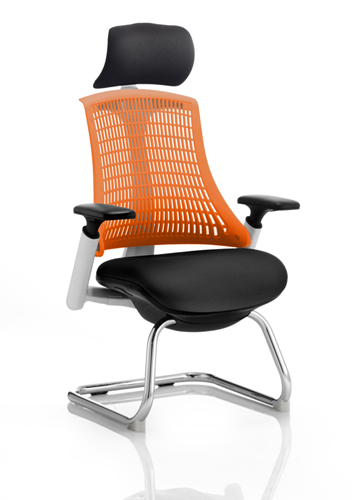 Picture of Office Chair Company Flex Visitor Cantilever White Frame Black Fabric Seat Orange Back With Arms With Headrest