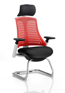 Picture of Office Chair Company Flex Visitor Cantilever White Frame Black Fabric Seat Red Back With Arms With Headrest