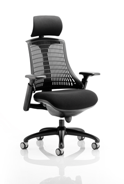 Picture of Office Chair Company Flex Task Operator Chair Black Frame With Black Fabric Seat Black Back With Arms With Headrest