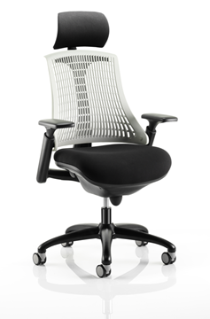 Picture of Office Chair Company Flex Task Operator Chair Black Frame With Black Fabric Seat Moonstone White Back With Arms With Headrest