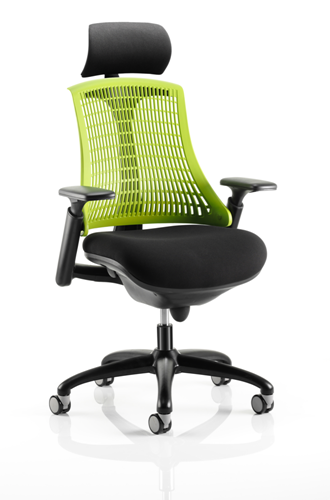 Picture of Office Chair Company Flex Task Operator Chair Black Frame With Black Fabric Seat Green Back With Arms With Headrest
