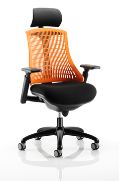 Picture of Office Chair Company Flex Task Operator Chair Black Frame With Black Fabric Seat Orange Back With Arms With Headrest