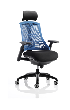 Picture of Office Chair Company Flex Task Operator Chair Black Frame With Black Fabric Seat Blue Back With Arms With Headrest