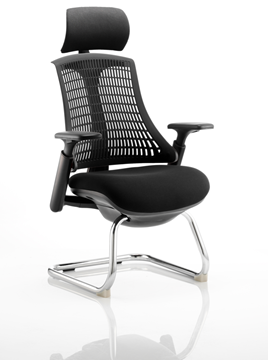 Picture of Office Chair Company Flex Visitor Cantilever Chair Black Frame Black Fabric Seat With Black Back With Arms With Headrest