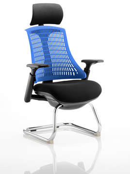 Picture of Office Chair Company Flex Visitor Cantilever Chair Black Frame Black Fabric Seat With Blue Back With Arms With Headrest