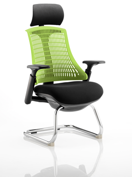 Picture of Office Chair Company Flex Visitor Cantilever Chair Black Frame Black Fabric Seat With Green Back With Arms With Headrest