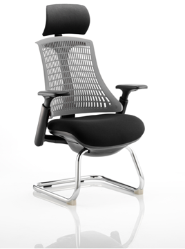 Picture of Office Chair Company Flex Visitor Cantilever Chair Black Frame Black Fabric Seat With Grey Back With Arms With Headrest