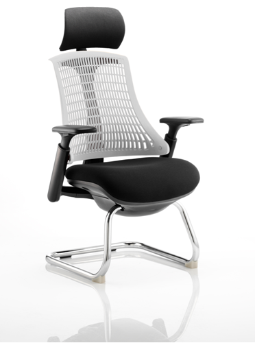 Picture of Office Chair Company Flex Visitor Cantilever Chair Black Frame Black Fabric Seat With Moonstone White Back With Arms With Headrest