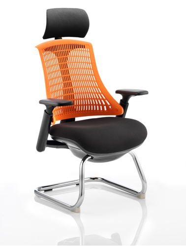 Picture of Office Chair Company Flex Visitor Cantilever Chair Black Frame Black Fabric Seat With Orange Back With Arms With Headrest