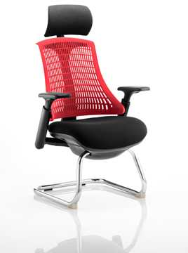 Picture of Office Chair Company Flex Visitor Cantilever Chair Black Frame Black Fabric Seat With Red Back With Arms With Headrest