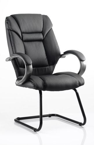 Picture of Office Chair Company Galloway Visitor Cantilever Chair Black Leather With Arms