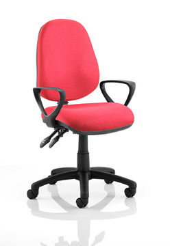 Picture of Office Chair Company Luna II Lever Task Operator Chair Burgundy With Loop Arms