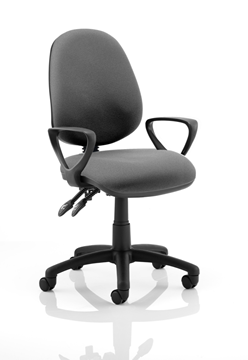 Picture of Office Chair Company Luna II Lever Task Operator Chair Charcoal With Loop Arms