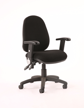 Picture of Office Chair Company Luna II Lever Task Operator Chair Black With Height Adjustable And Folding Arms