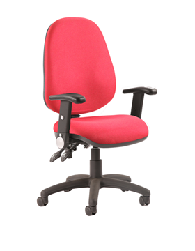 Picture of Office Chair Company Luna II Lever Task Operator Chair Burgundy With Height Adjustable And Folding Arms