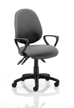Picture of Office Chair Company Luna III Lever Task Operator Chair Charcoal With Loop Arms