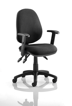 Picture of Office Chair Company Luna III Lever Task Operator Chair Black With Height Adjustable Arms