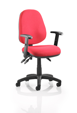 Picture of Office Chair Company Luna III Lever Task Operator Chair Burgundy With Height Adjustable Arms